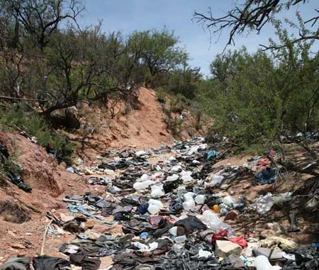 This trash-filled wash is below Diablito Mountain, about 5 miles http://www.tucsonweekly.com/tucson/trashing-arizona/Content?oid=1168857