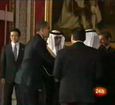 Raising from his bow, Obama is clearly visible.  http://www.wnd.com/index.php?fa=PAGE.view&pageId=93696